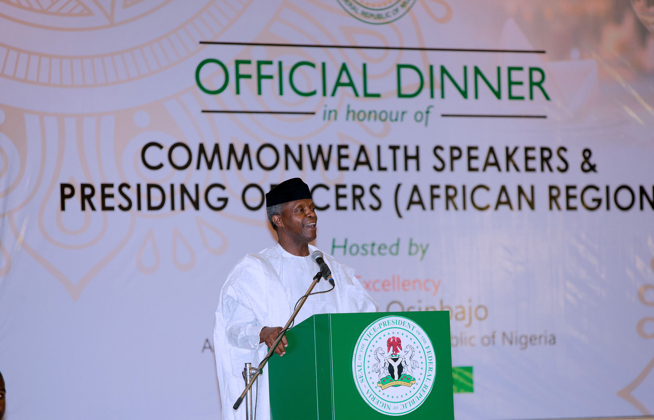 AG PRESIDENT OSINBAJO DINNER 4 COMMONWEALTH SPEAKERS. 0A. Acting President Yemi Osinbajo SAN during a dinner in honour of the Commonwealth Speakers and Presiding officers (African Region) held at the Banquet Hall Presidential Villa Abuja. PHOTO; SUNDAY AGHAEZE/STATE HOUSE. JULY 25 2017.