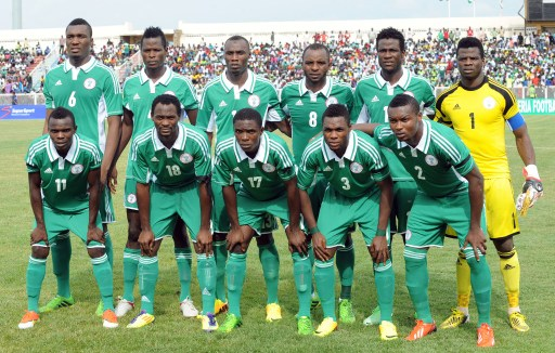 The Nigerian football team's starting lineup is pictured before the 2014 CH AN qualification match between Nigeria and Ivory Coast in Kaduna July 6, 2013. Nigeria defeated Ivory Coast 4 - 1. AFP PHOTO/PIUS UTOMI EKPEI