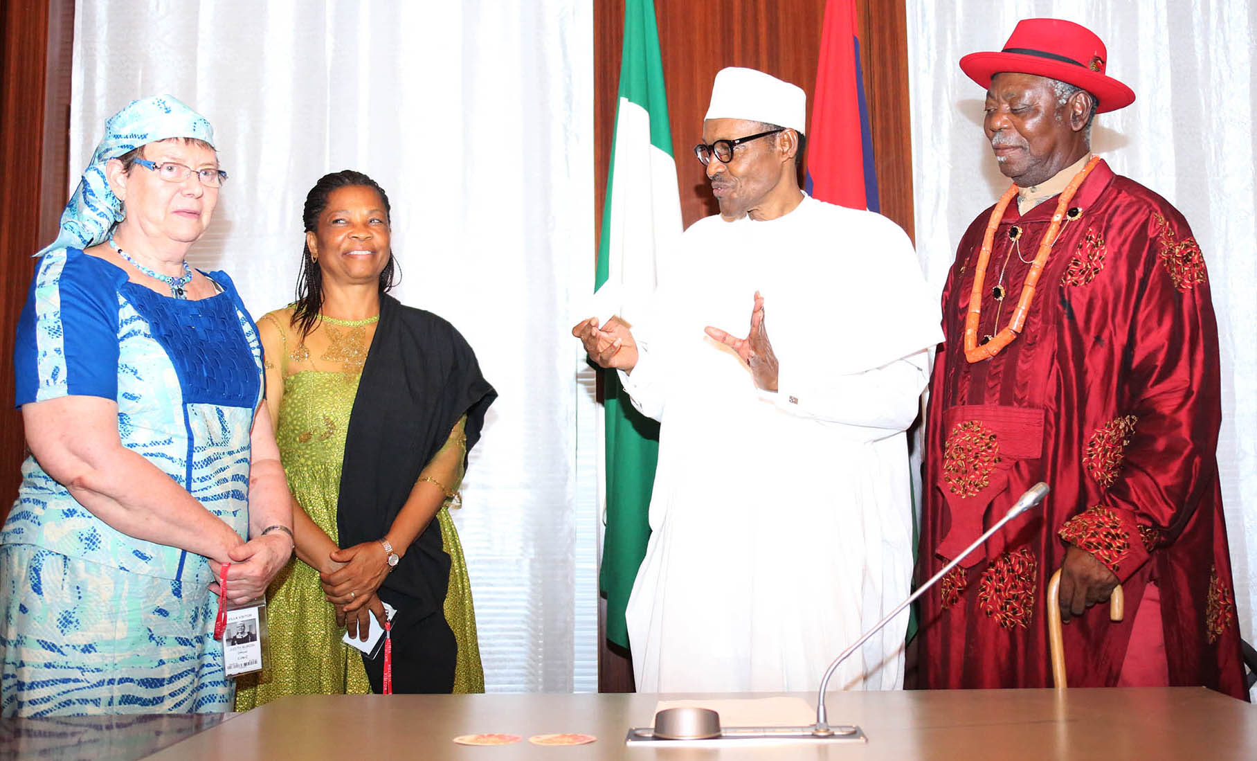 PRESIDENT BUHARI RECEIVES NIGER DELTA CONTACT GROUP 5. President Muhammadu Buhari (2nd) right, The Amanayanabo of Twon Brass HRH King Alfred Diete Spiff, Former Nigerian Ambassador to Ethiopia, Hon Nkoyo Toyo and Founder AA PeaceWorks, Chief Mrs Judith Burdin Asuni as President receives in audience Niger Delta Dialodue and Contact Group at the State House in Abuja. PHOTO; SUNDAY AGHAEZE. JUNE 30 2016
