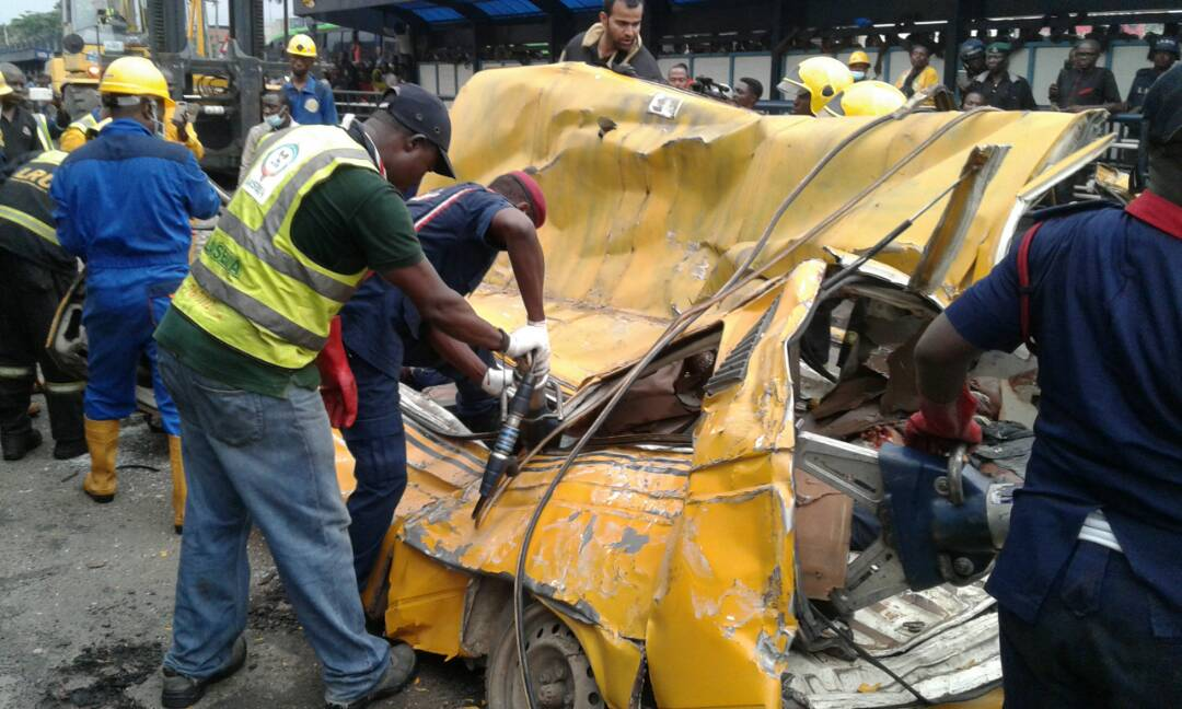 Fatal Accident in Lagos As Container Falls on Commercial Bus