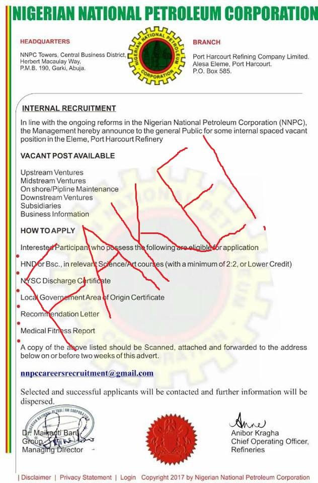 Beware of Recruiting Scams, NNPC Warns Nigerians
