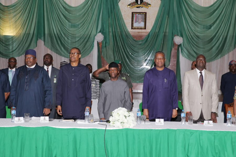 ACTING PRESIDENT OSINBAJO CHAIRS PEBEC 00A. R-L; Minister of Power Works and Housing, Babatunde Fashola, Minister of Foreign Affairs, Geoffrey Onyeama, Acting President Yemi Osinbajo, Minister of Industry, Trade and Investment, Mr Okechukwu Enelamah and Minister of Interior Lt Gen Abdulrahman Dambazau Rtd during the Presidential Enabling Business Environment Council at the Presidential Villa. PHOTO; SUNDAY AGHAEZE. MAY 18 2017