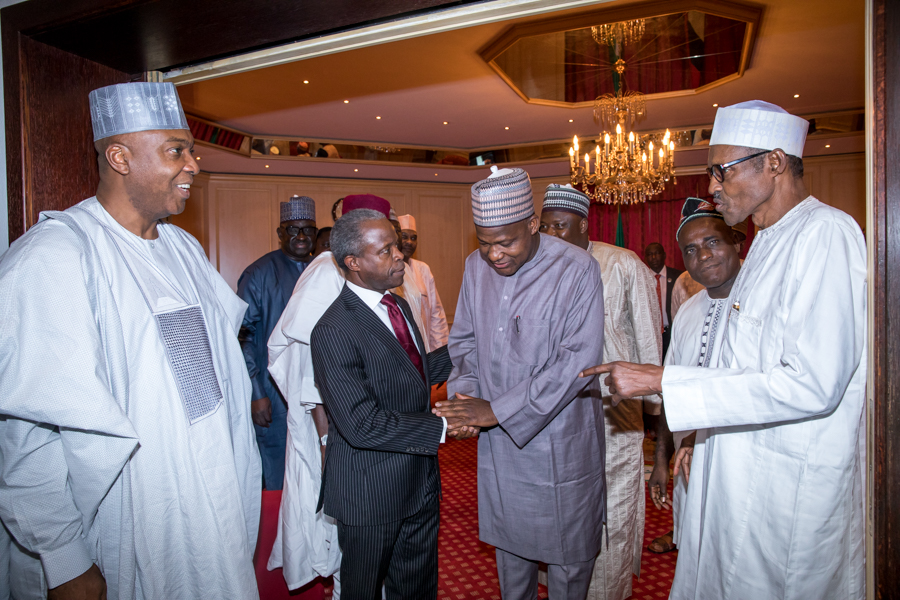 The Day In Pictures: Buhari, Osinbajo, NASS leaders at the Villa
