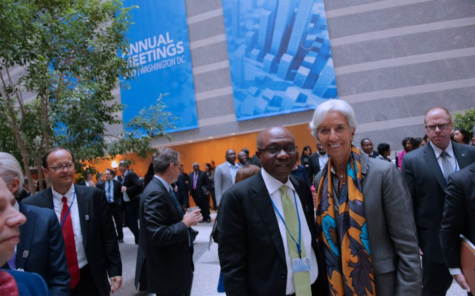 IMF GOVERNOR PLENARY SESSION 6. Nigerian Central Bank Governor, Mr Godwin Emefiele and the Managing Director of International Monetary Fund, Ms. Christine Lagarde during life band muscial concertat the 2017 Annual Meetings of the International Monetary Fund and World Bank in Washington on Saturday, October 14, 2017. PHOTO; SUNDAY AGHAEZE..