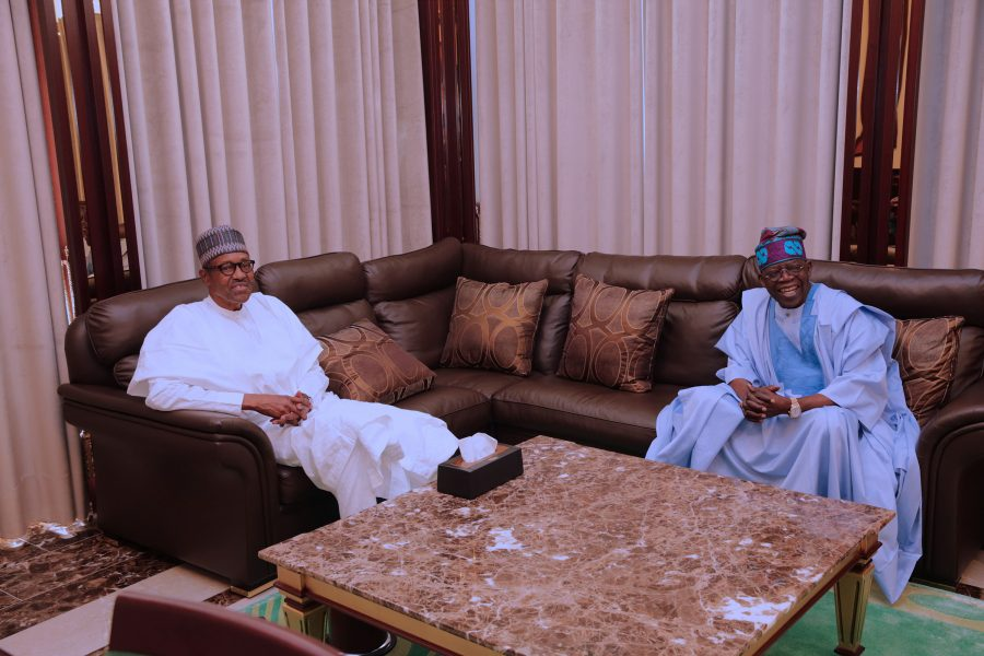 PRESIDENT BUHARI RECEIVES SEN BOLA TINUBU 4A&B, President Muhammadu Buhari chats with APC Chieftain, Senator Ahmed Bola Tinubu during a close door at the State House Abuja. PHOTO; SUNDAY AGHAEZE/STATE HOUSE. OCT 39 2017