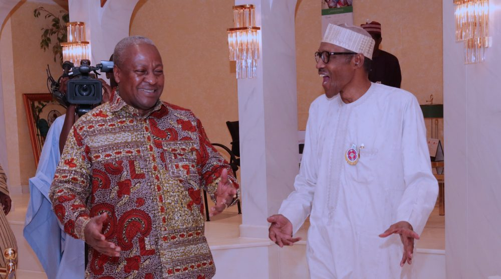 PRESIDENT BUHARI RECEIVES FMR GHANA PRESIDENT MAHAMA 2. R-L; President Muhammadu Buhari chats with The Former President of Ghana, Mr John Dramani Mahama during a private dinner at the Residence State House in Abuja. PHOTO; SUNDAY AGHAEZE/STATE HOUSE. NOV 2 2017