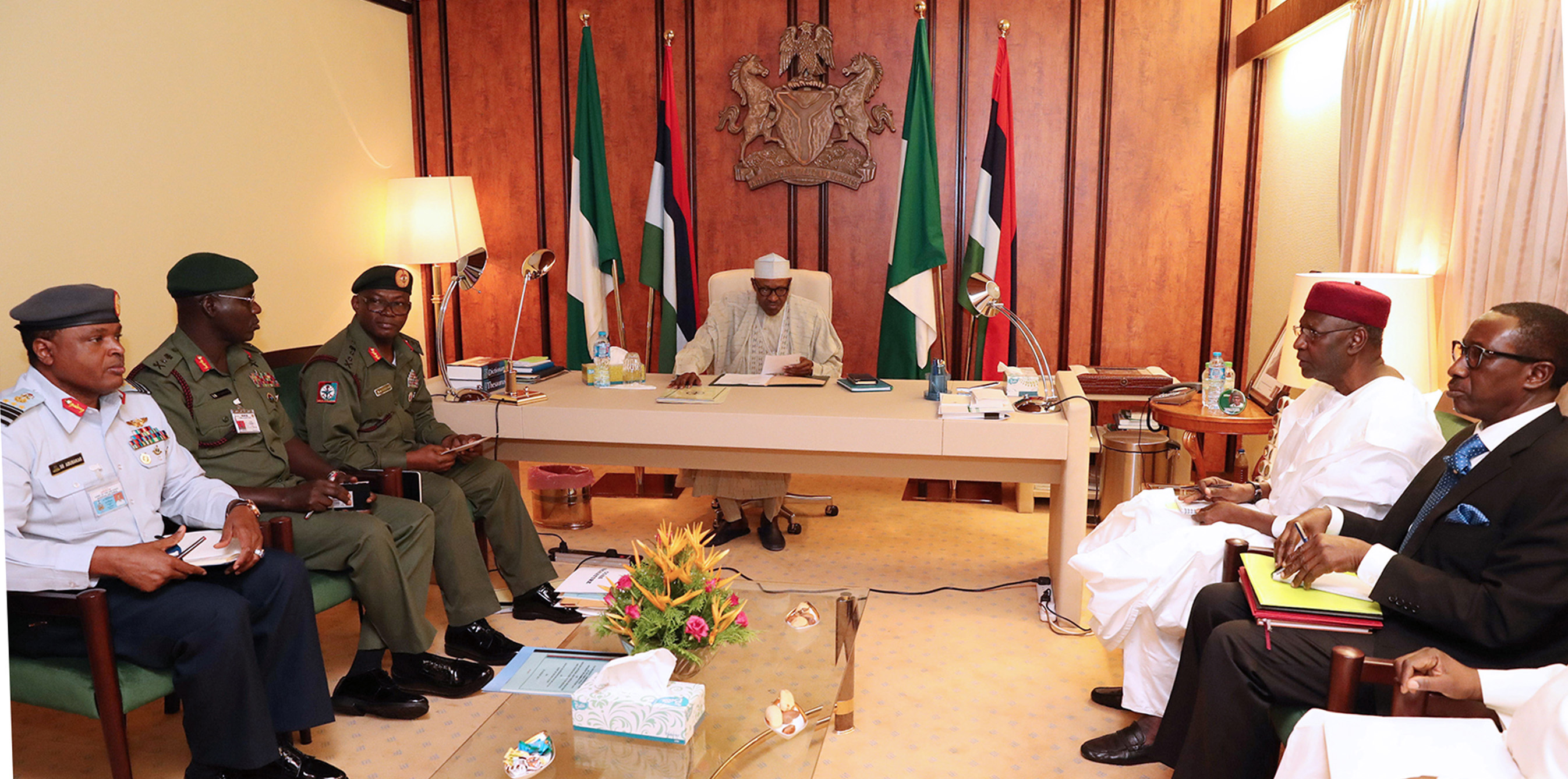 PRESIDENT BUHARI PRESIDES OVER SECURITY MEETING. 2B. President Muhammadu Buhari presides over Security Meeting with service chiefs, Chief of Defence Staff, Lt General Abayomi Olonisakin, Chief of Army Staff, Lt General TY Buratai, Chief of Air Staff, Air Marshal Abubakar Sadique, National Security Adviser to the President NSA, Major General Babagana Monguno, Chief of Staff, Mallam Abba Kyari during scurity Meeting at the State House, Abuja. PHOTO; SUNDAY AGHAEZE/STATE HOUSE. AUG 22 2017