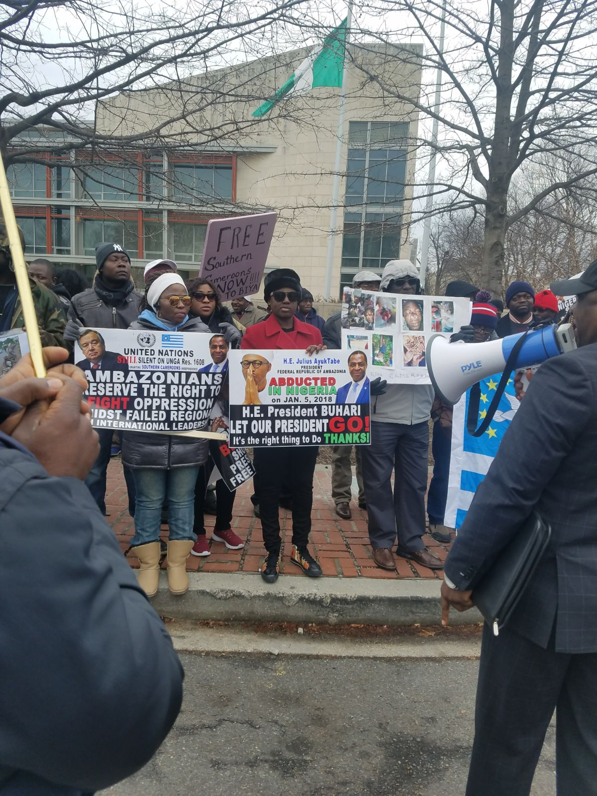 Cameroon protesters storm Nigeria embassy compound in Washington