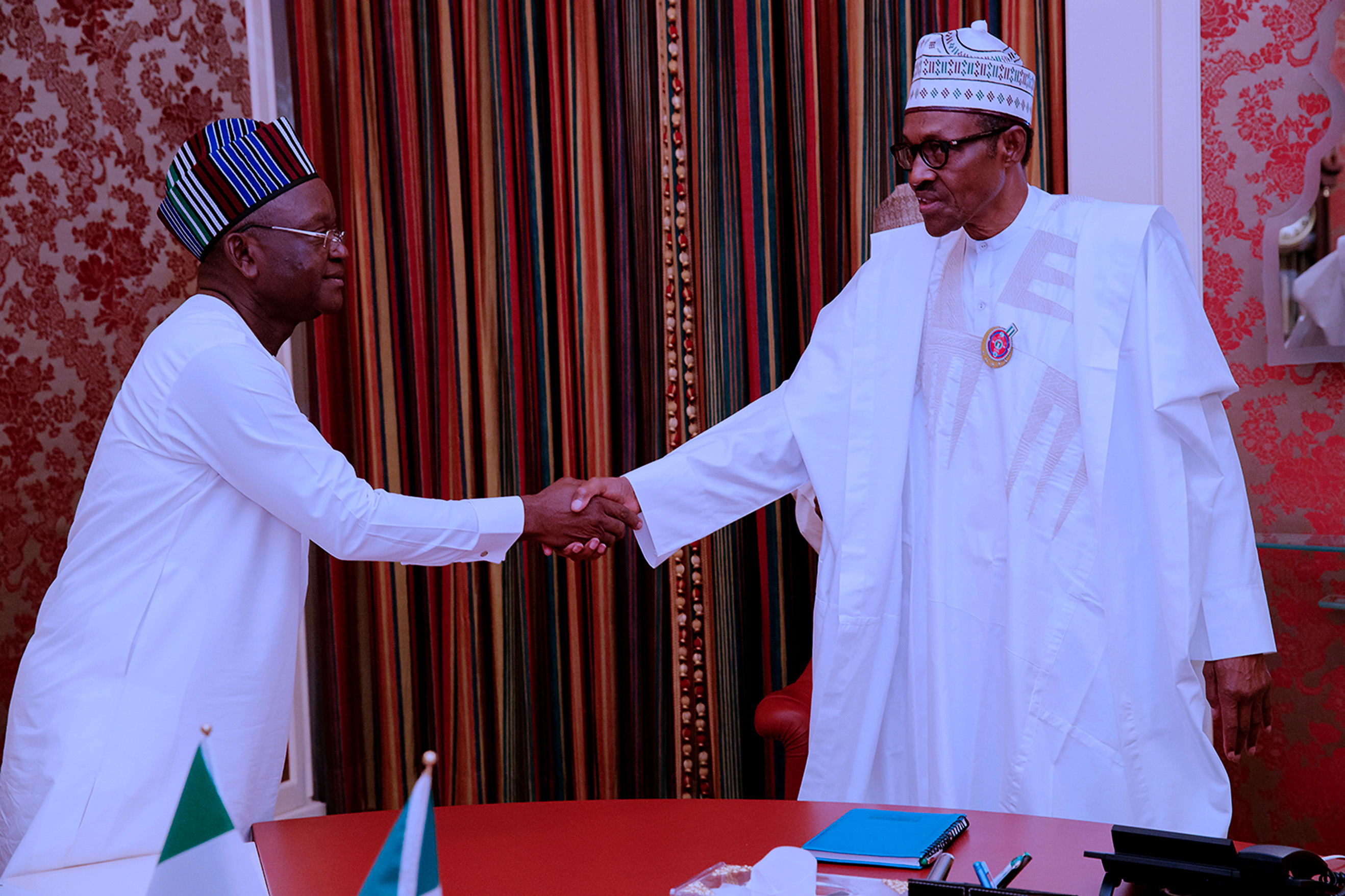 PRESIDENT BUHARI RECEIVES BENUE GOV 1 . President Muhammadu Buhari receives The Governor of Benue, Mr samuel Ortom at the State House in Abuja. PHOTO; SUNDAY AGHAEZE. JAN 9 2018