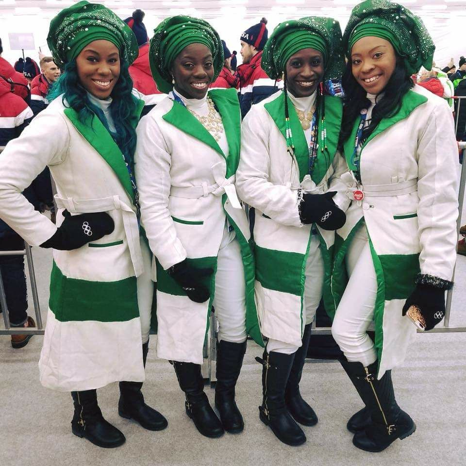 Nigeria's First-Ever Bobsled Team At The Winter Olympics Opening Ceremony