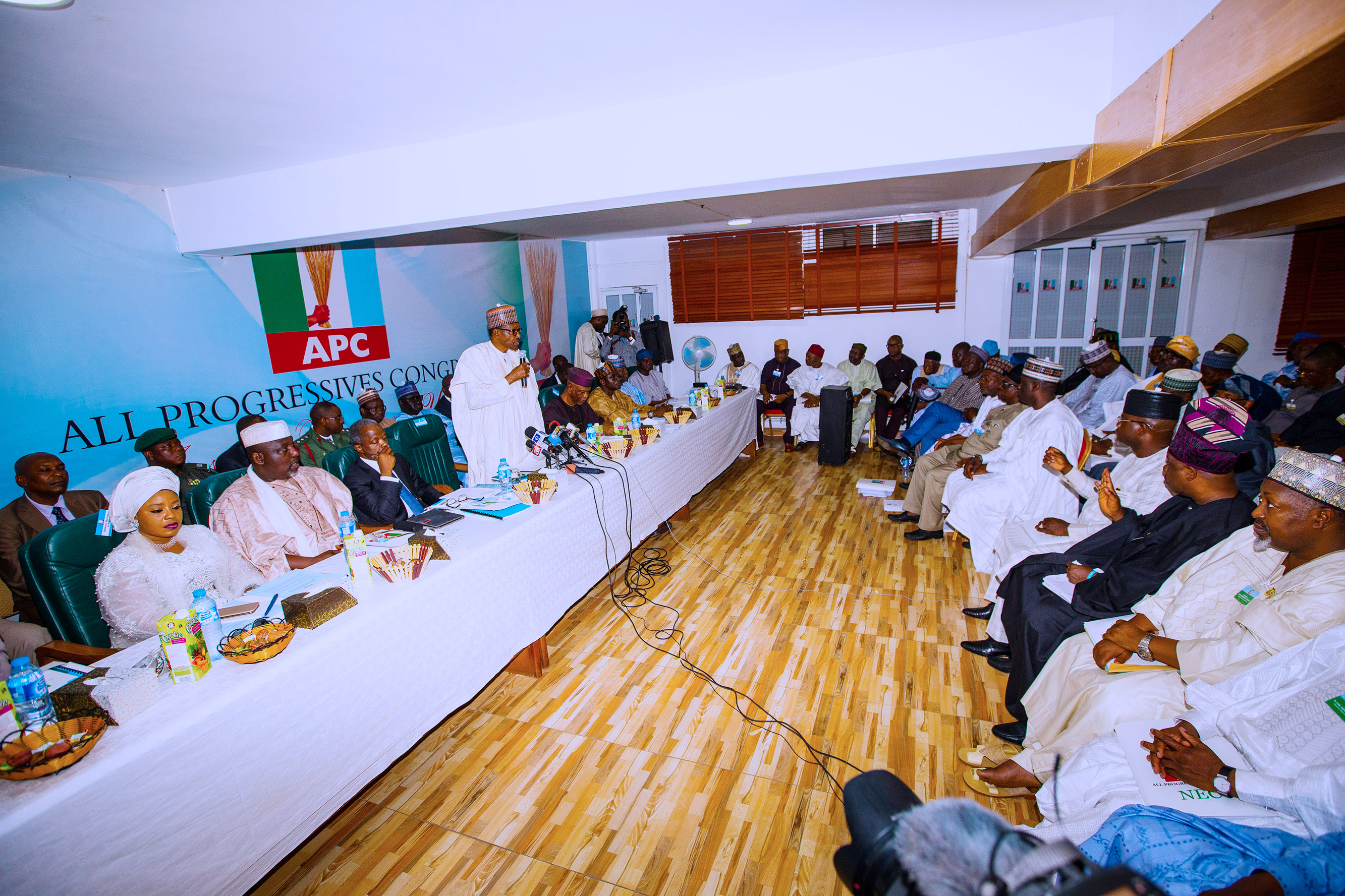 PRESIDENT BUHARI ATTENDS APC NEC MEETING 00A. ; President Muhammadu Buhari Addressing the chieftain of the party during the APC National Executive Meeting held at the Party Secretariat Abuja. PHOTO; SUNDAY AGHAEZE. FEB 27 2018.