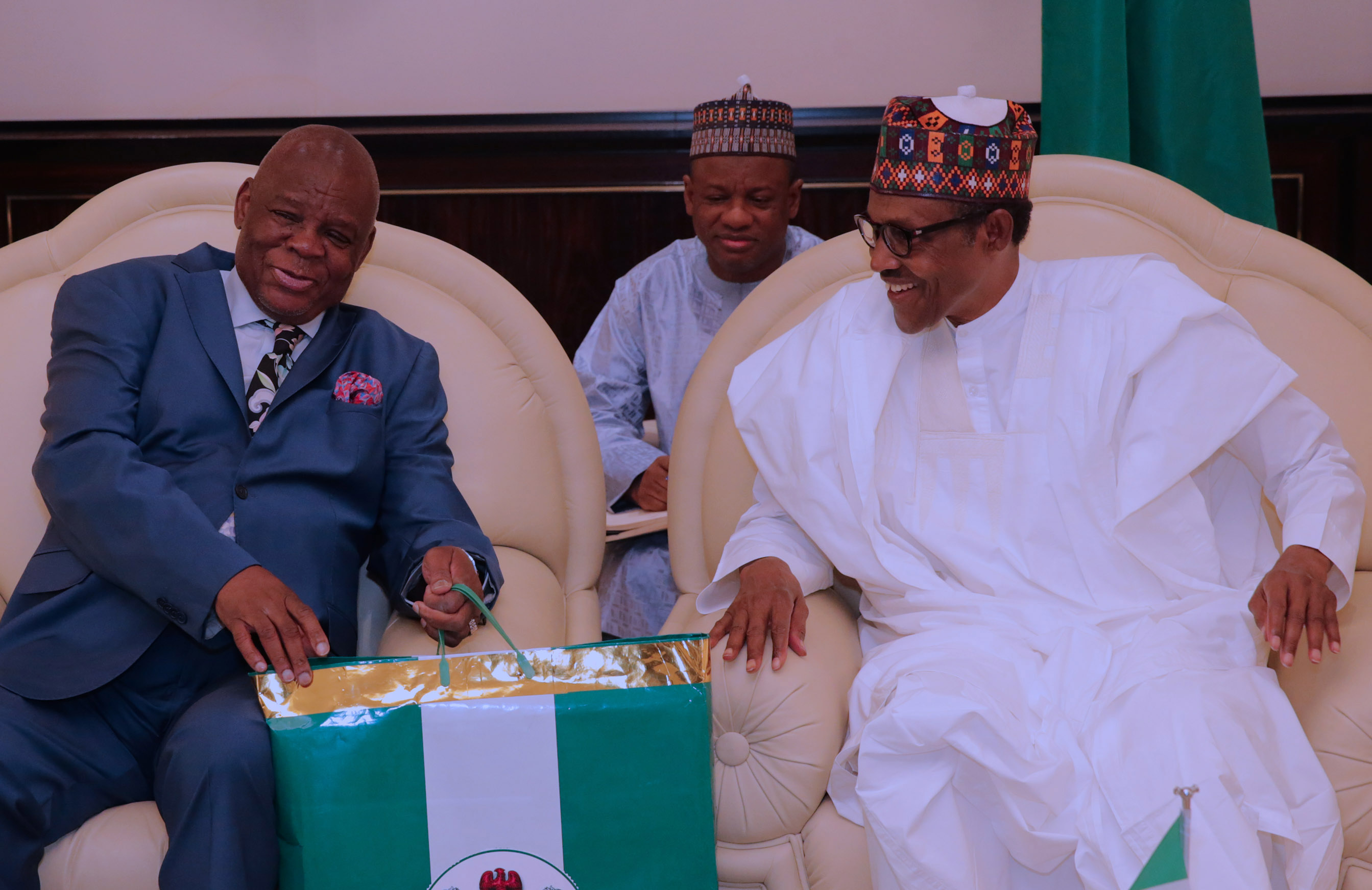 The Day in Pictures: Buhari Receives Outgoing South African High Commissioner