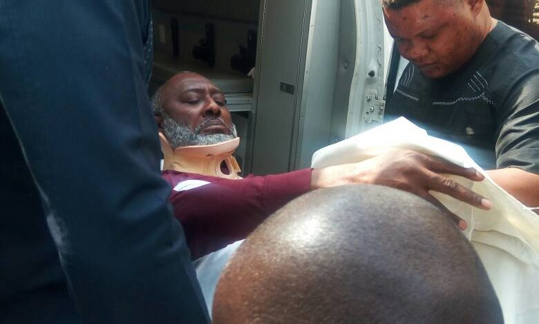 Metuh carried to court on a stretcher