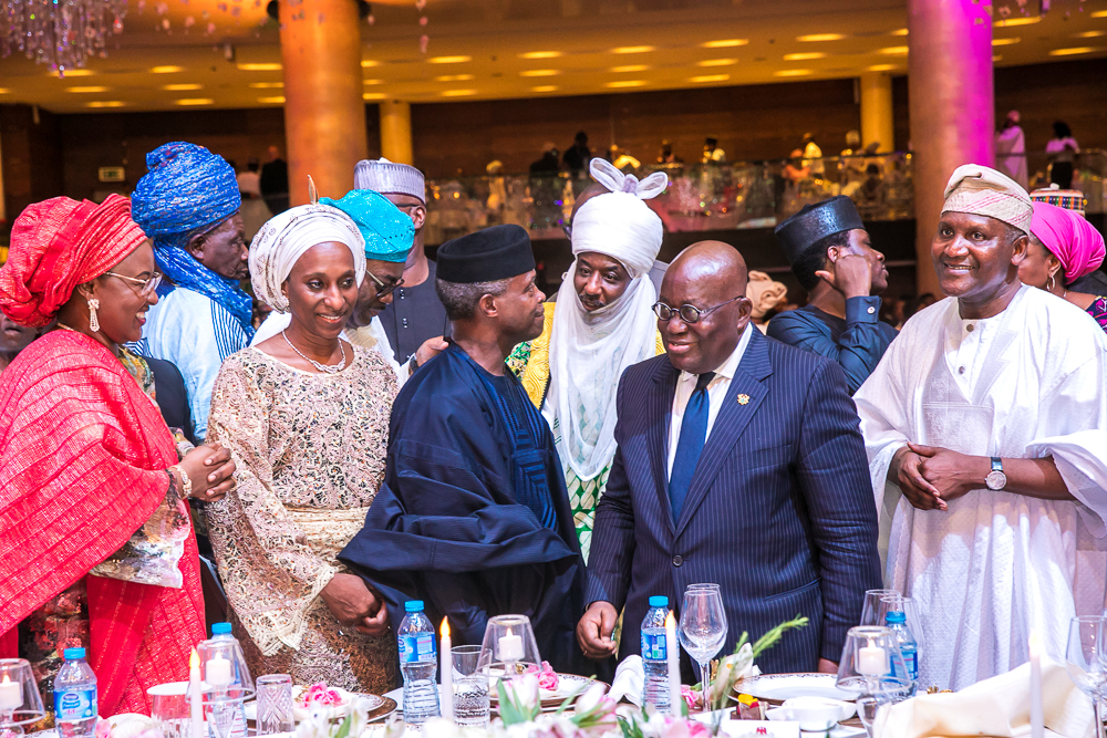 The Day in Pictures: The Osinbajo's at the Wedding Reception of Fatima Dangote & Jamil Abubakar in Lagos