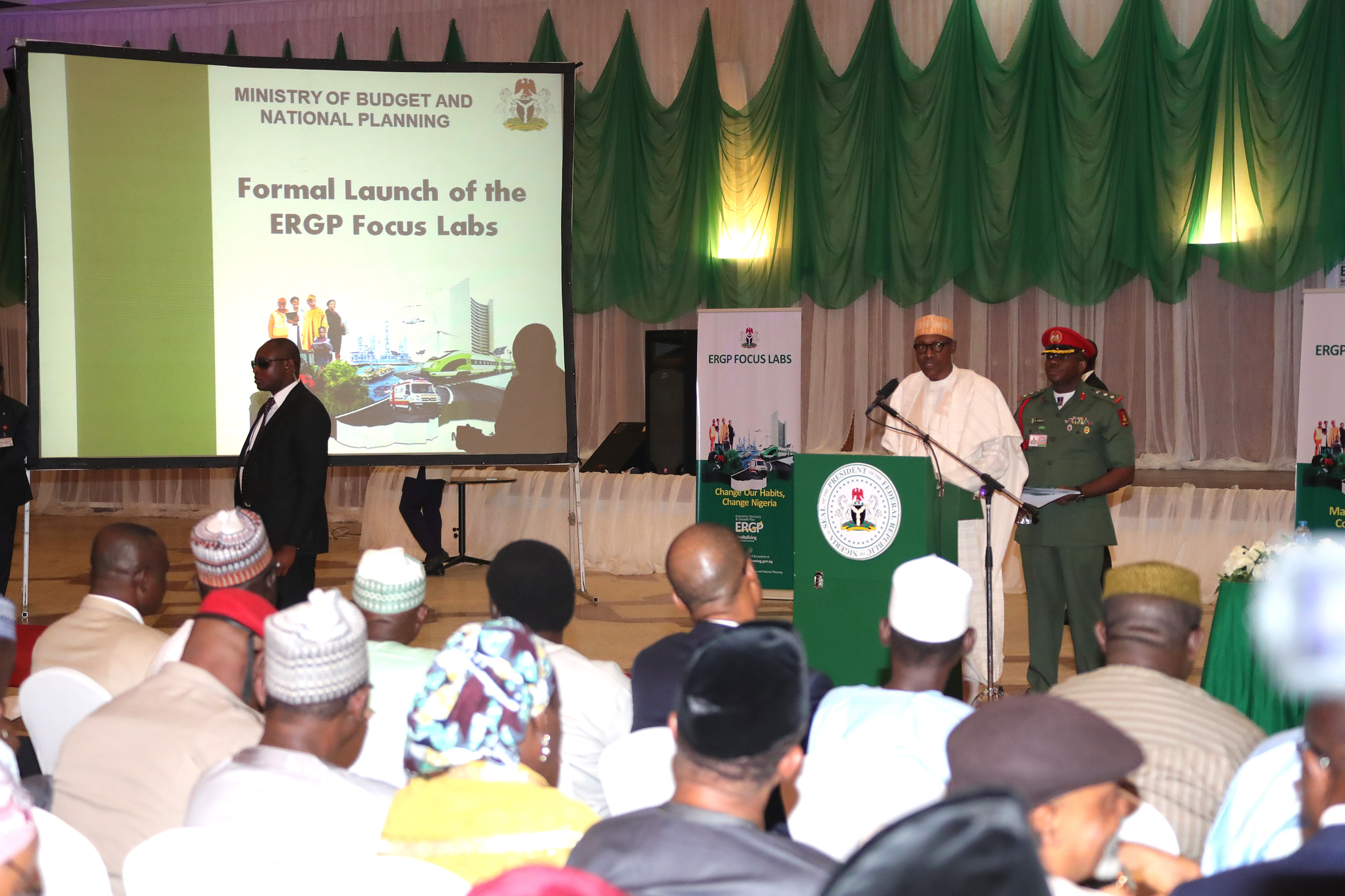 PRESIDENT BUHARI LAUNCH ERGP. 1A, President Muhammadu Buhari addressing the participant during the Formal Launch of the Economic Recovery & Growth Plan 2017-2020 (ERGP) LABS held Banquet Hall State House, Abuja. PHOTO; SUNDAY AGHAEZE. MAR 13 2018