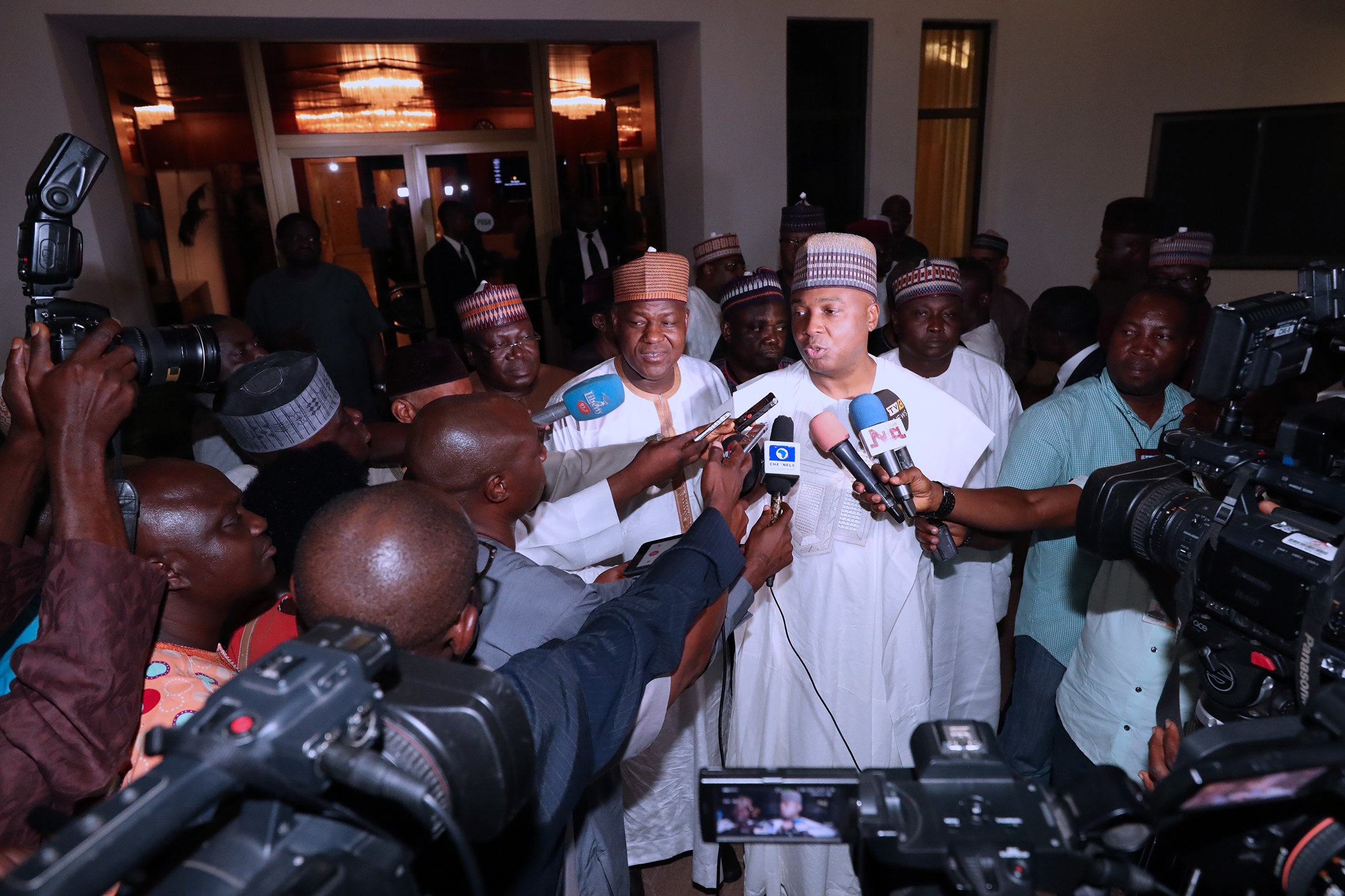 PRESIDENT BUHARI MEETING WITH NASS EXECUTIVES 10; President of the Senate Dr Abubakar Bukola Saraki, Speaker Rt Hon Yakubu Dogara, and others brief press after the meeting with the Leadership of National Assembly held at the Presidential Villa Abuja. Thursday night. MARCH 15 2018