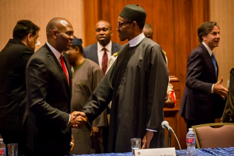 President Buhari heaps praise at 'pacesetter' Tony Elumelu at 55