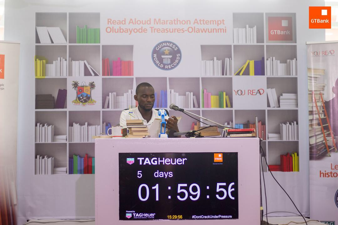 GTBank YouREAD: Nigerian Reads Aloud For 122 Hours To Promote Reading Culture, Sets New Record
