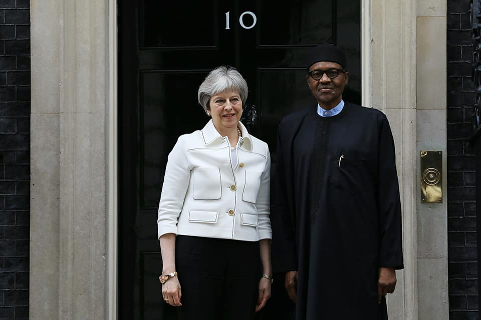 President Buhari meets with UK Prime Minister Theresa May at 10 Downing Street London