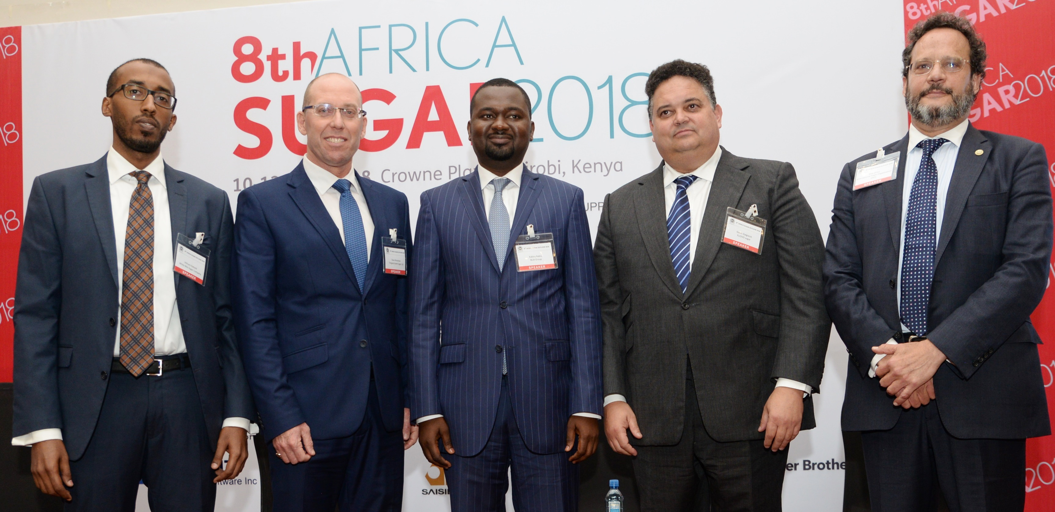 L - R: Hitham Elebaid, Business Planning Head, White Nile Sugar Company, Sudan; Dave Meadows, Director, Strategic Development & Business Excellence Agri Processing, Tongaat Hulett, South Africa; Kabiru Rabiu, Group Executive Director BUA Group, Nigeria; Gavin Dalgleish, Group Managing Director ILLOVO sugar, South Africa and Jose Orive, Executive Director, International Sugar Organization (ISO)at the 8th Africa Sugar Conference 2018 in Kenya.