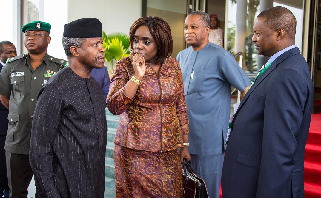 AG PRESIDENT OSINBAJO ATTENDS AbujaIFFAR 6. L-R; Acting President Yemi Osinbajo, Minister of Finance, Mrs Kemi Adeosun, Minister of Finance, Mrs Kemi Adeosun, Minister of Foreign Affairs, Mr Geoffrey Onyeama and Minister of Justice and Attorney General of the Federation, Abubakar Malami during the conference on promoting International Co-Operation in combating Illicit Financial Flows and Enhancing Asset Recovery to foster Sustainable Development in Nigeria held at the Banquet hall State House in Abuja. PHOTO; SUNDAY AGHAEZE. JUNE 5 2017