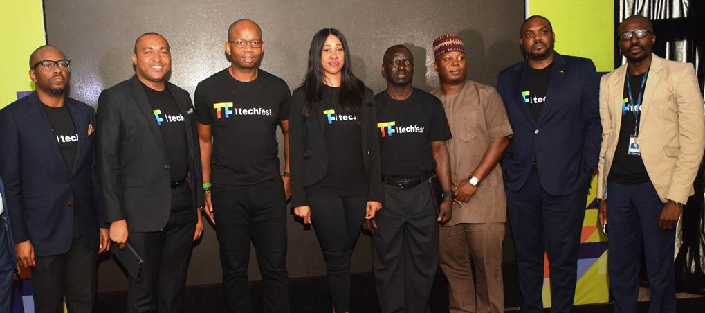 L – R: Ope Olaniran, Business Group Director, Microsoft; Emezino Afiegbe, Country Manager, Nigeria, Visa; Uzoma Dozie, Chief Executive Officer, Diamond Bank PLC; Barbara Anozia, General Manager, Enterprise Business Unit, MTN; Niyi Ajao, Executive Director, Business Development, NIBSS; Deji Awokoya, General Manager, Beat FM; Yemi Saka, West Africa Consulting Leader, Deloitte and Touche; and Tomi Ogunlesi, Corporate Brand Manager, Interswitch at the unveiling of Tech Fest at Diamond Bank Plc head office on Tuesday, April 10, 2018.