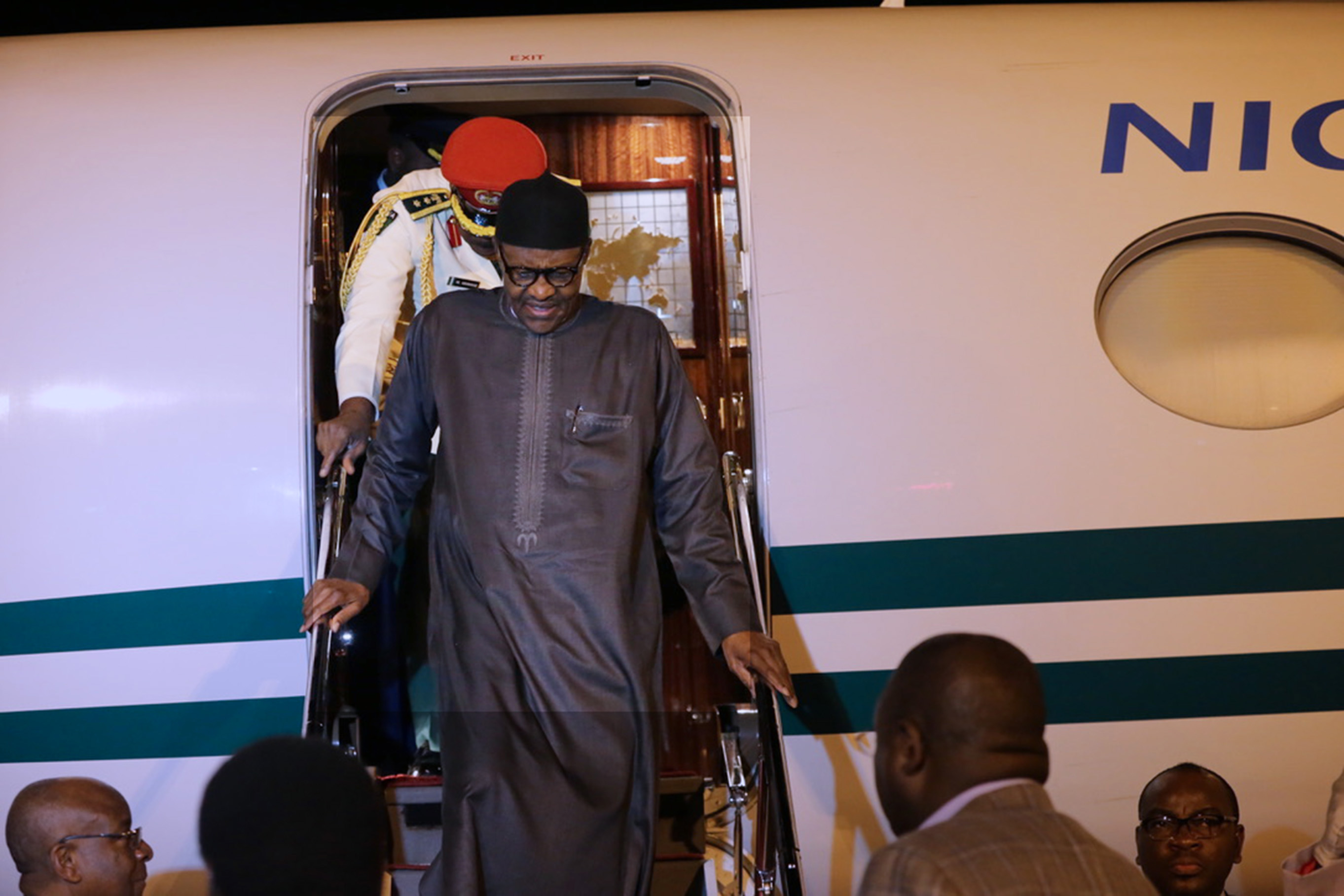PRESIDENT BUHARI RETURNS 0A. President Muhammadu Buhari returns to Abuja after a successful outing with the President of the United State Donald Trump in Washington DC. PHOTO; SUNDAY AGHAEZE. MAY 2018.