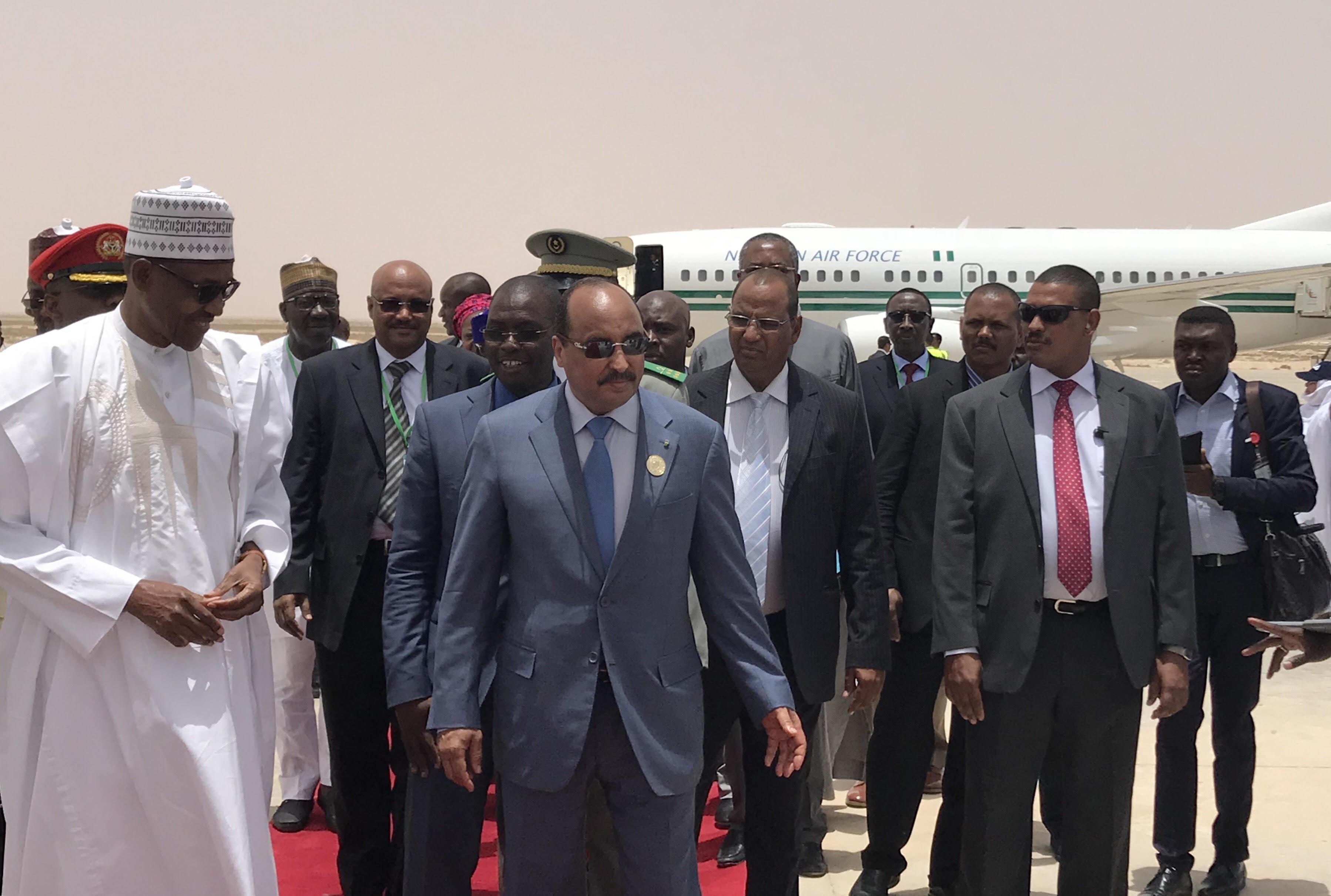 Buhari arrives Mauritania ahead of AU Summit