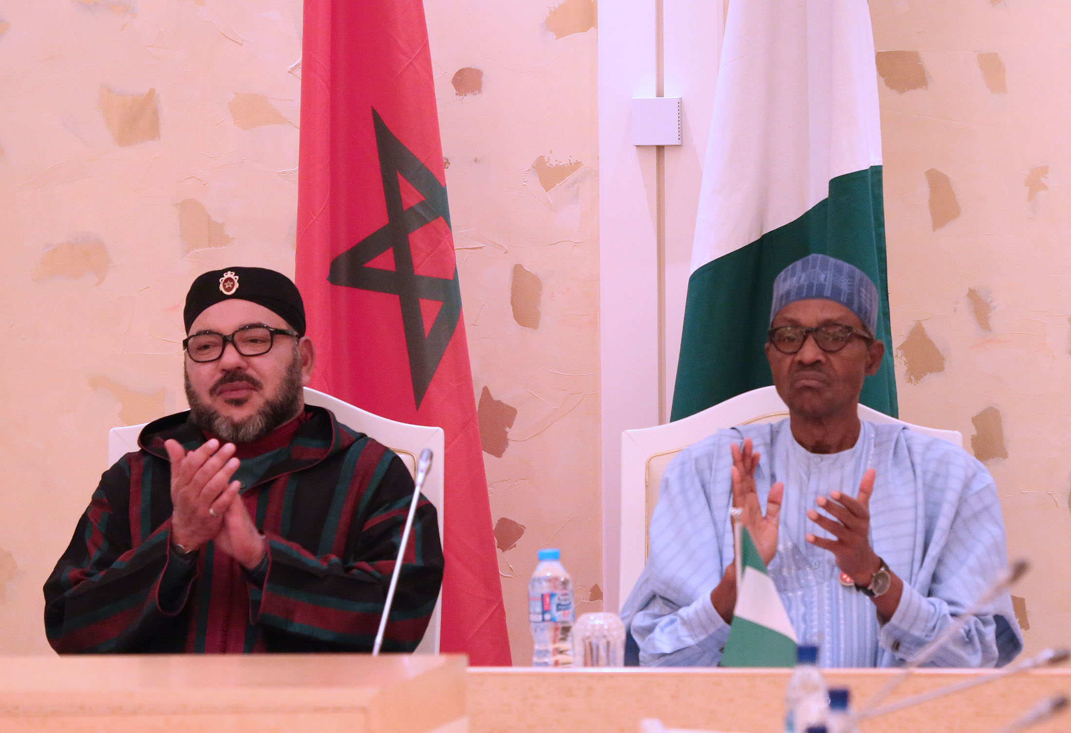 MOU ON TRADE AGREEMENT. President Muhammadu Buhari Chats with King of Morocco, His Majesty Mohammed VI during the signing 17 trade agreements on investment, Air Transportation, agriculture and other cooperation at the Presidential Villa Abuja. PHOTO; SUNDAY AGHAEZE. DEC 3 2016.