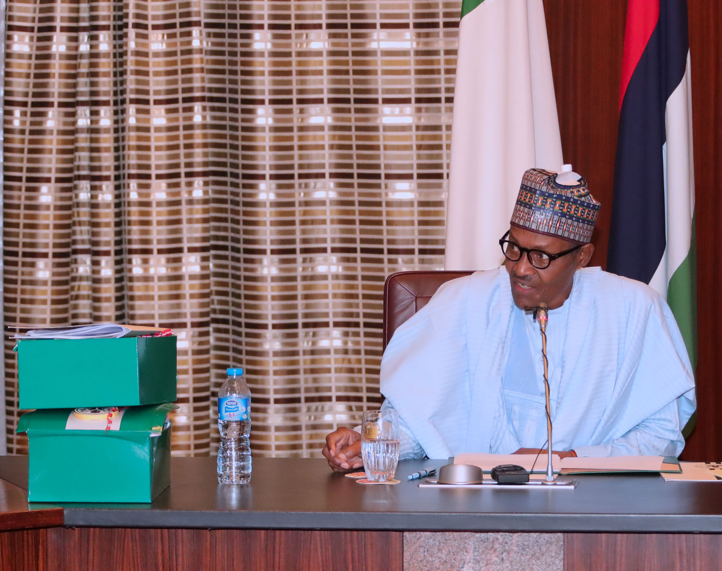PRESIDENT BUHARI SIGNS 2018 BUDGET 0A. 2018 BUDGET SIGNED: President Muhammadu Buhari Speaking after the Signing of the 2018 Budget at the State House in Abuja. PHOTO; SUNDAY AGHAEZE. JUNE 20 2018