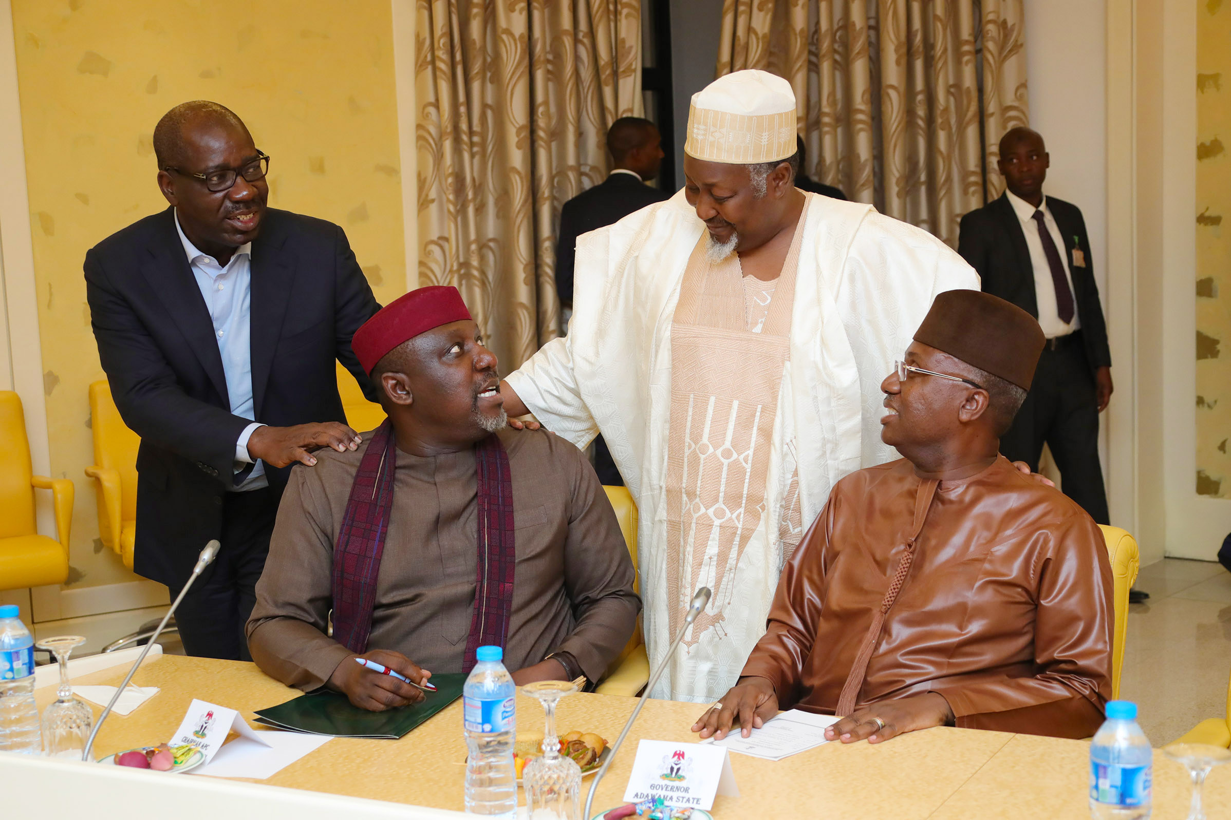 PRESIDENT BUHARI MEETS APC GOVERNORS 10. L-R; Edo State Governor, Godwin Obaseki, Governor of Imo State Owelle Rochas Okorocha, Governor of Jigawa State, Alhaji Mohammed Badaru Abubakar and Governor of Bauchi State, Alhaji Mohammed Abdullahi Abubakar during an audience with APC Governors' Forum Tuesday Night at the State House in Abuja. PHOTO; SUNDAY AGHAEZE. JUNE 13 2018.