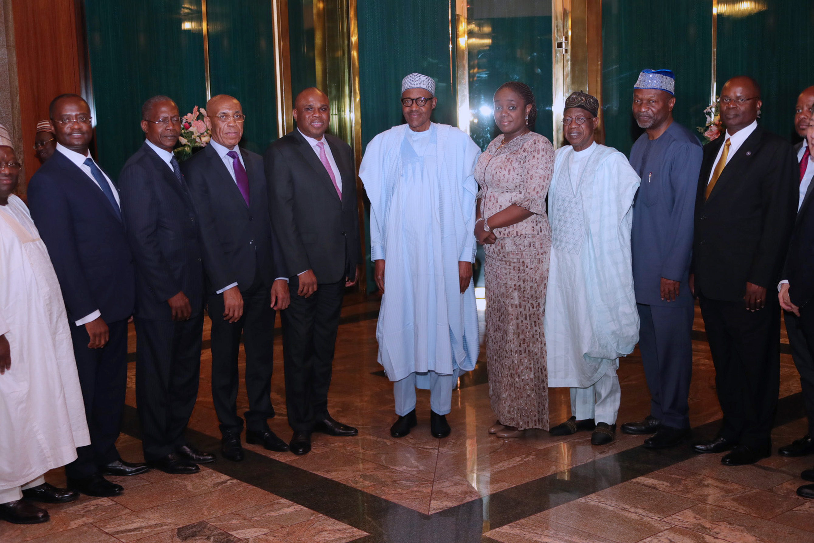 The Day in Pictures: Buhari meets Afreximbank board at the Villa