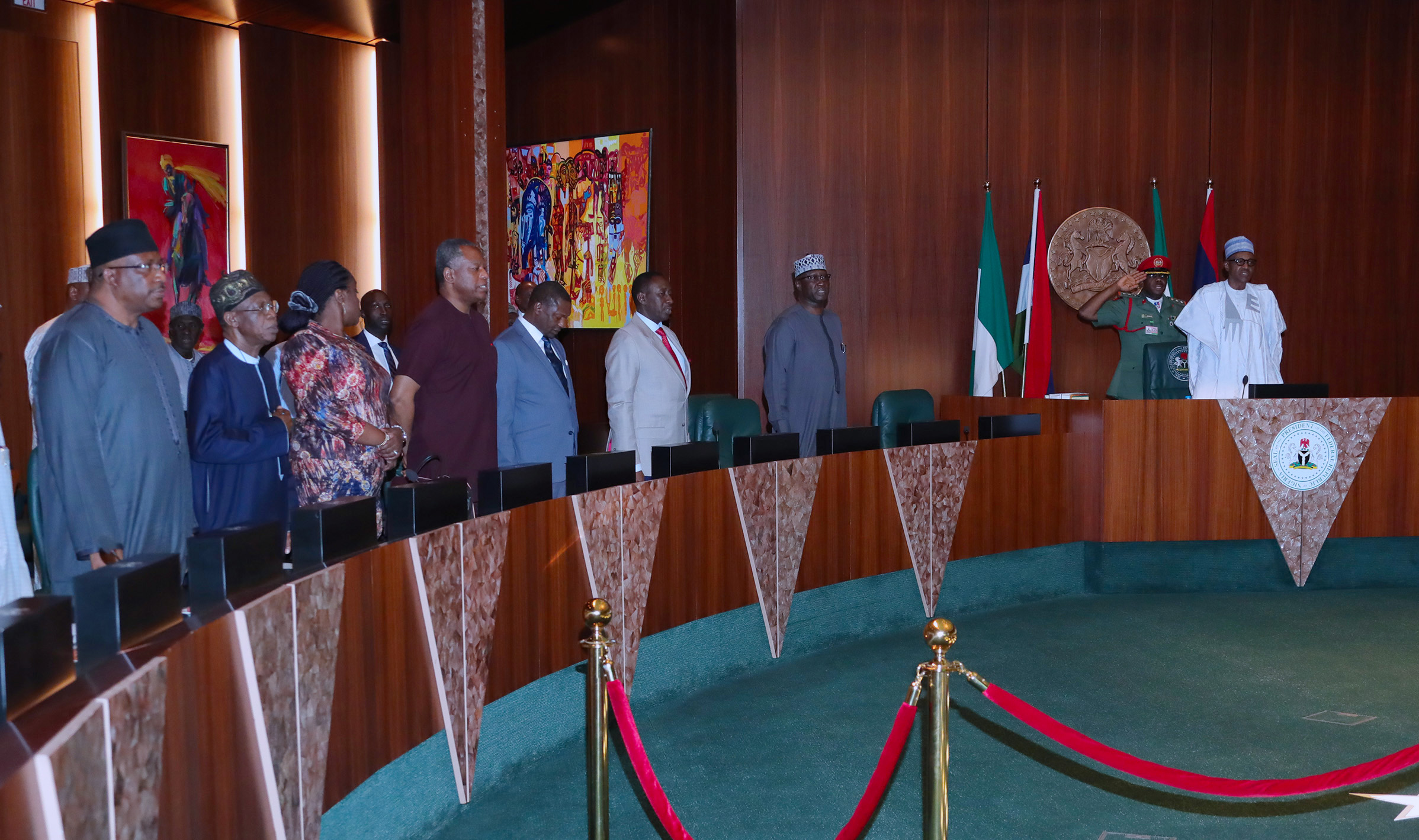 PRESIDENT BUHARI SIGNS EXECUTIVE ORDER 6. PIC 4. R-L;President Muhammadu Buhari, SGF Mr Boss Mustapha,NSA Majo General Babagana Munguno, Minister of Justice and Attorney General of the Federation, Abubakar Malami, Minister of Foergin Affairs, Mr. Geoffrey Onyeama, Minister of Finance, Mrs Kemi Adeosun and Minister of Internal Affairs, Lt General Abdulrahman Dambazzau during the signing of Executive Order 6 on the Preservation of Suspicious Assets Connected with Corruption held at the Council Chambers State House, Abuja. PHOTO; SUNDAY AGHAEZE. JULY 5 2018.