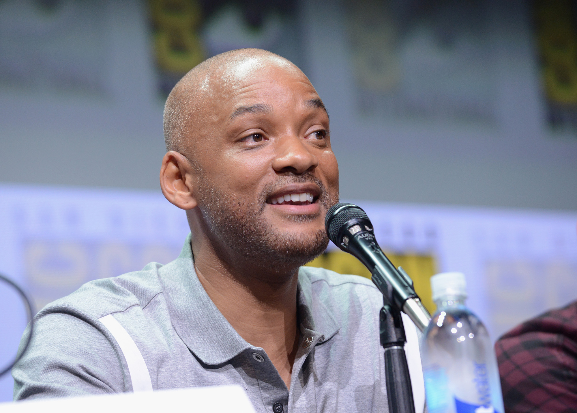 "SAN DIEGO, CA - JULY 20:  Actor Will Smith speaks onstage at Netflix Films: ""Bright"" and ""Death Note"" panel during Comic-Con International 2017 at San Diego Convention Center on July 20, 2017 in San Diego, California.  (Photo by Albert L. Ortega/Getty Images)"