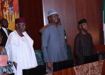 ACTING PRESI OSINBAJO PRESIDES OVER FEC MEETING OA. R-L; Acting President Yemi Osinbajo, SGF Mr. Boss Mustapha and Chief of Staff, Mallam Abba Kyari and Head of Civil Service of the Federation, Mrs Winifred Oyo-Ita during the FEC Meeting held at the Council Chambers in Abuja. PHOTO; SUNDAY AGHAEZE. AUG 15 2018