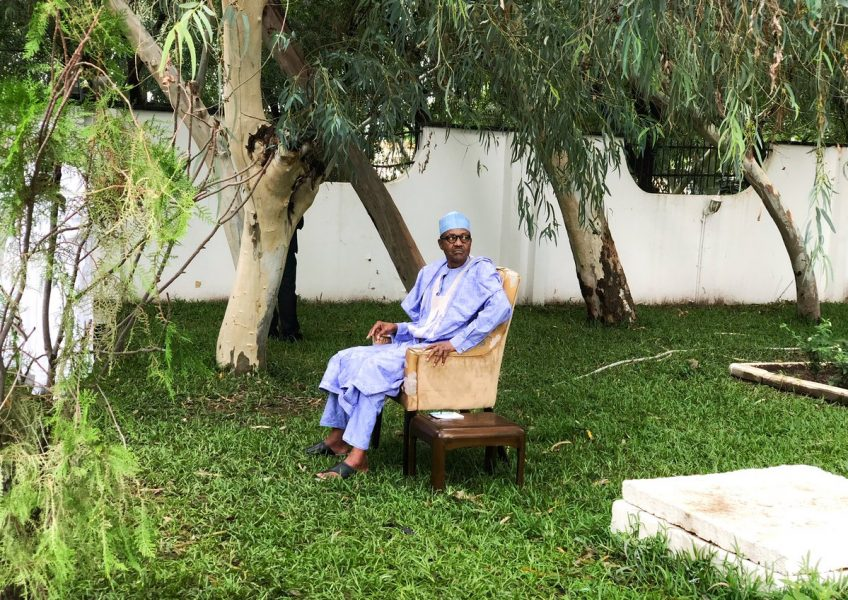 President Buhari in his compound in Daura, Katsina