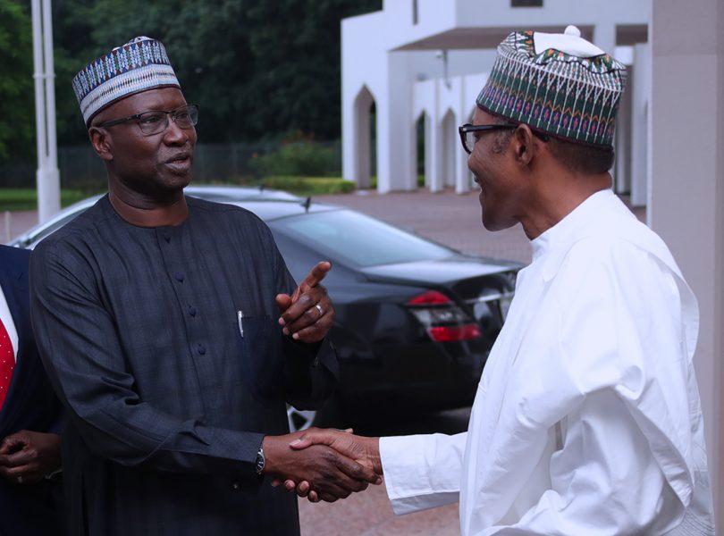 PRESIDENT BUHARI DEPARTS TO DAURA TOWN FOR SALLAH 0A. R-L; President Muhammadu Buhari chats with SGF Mr Boss Mustapha as President departs Abuja to Home town Daura for Sallah celebration PHOTO; SUNDAY AGHAEZE. AUG 20 2018.