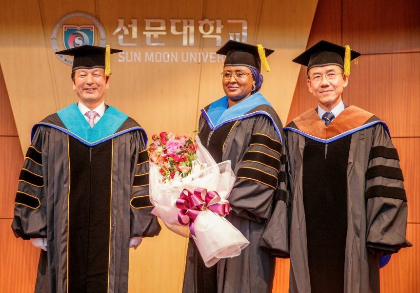 Aisha Buhari receives honorary degree at Sun Moon University, Asan, Republic of Korea.
