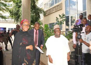 Photo caption: Zainab Ahmed (left), resuming office as supervisor of the ministry of finance. With her is the Permanent Secretary, Federal Ministry of Finance on Monday, Dr Mahmoud Isa-Dutse.