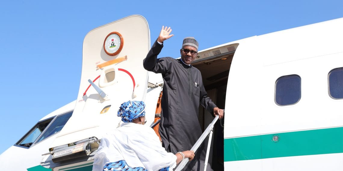 PRESIDENT BUHARI DEPARTS US FOR NIGERIA 1. President Muhammadu Buhari accompanied by his wife, Dr Mrs Aisha as he departs United State of America after a sucessful outing at the UNGA73 held in New York. PHOTO; SUNDAY AGHAEZE. SEPT 29 2018