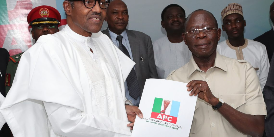 PRESIDENT BUHARI SUBMIT HIS 2019 NOMINATION FORM A. President Muhammadu Buhari submits his Expression of Interest and Nomination form for the 2019 Presidential Election THE APC National Chairman Comrade Adams Oshiomhole at the Party Headquarters in Abuja. PHOTO; SUNDAY AGHAEZE. SEPT 12 2018