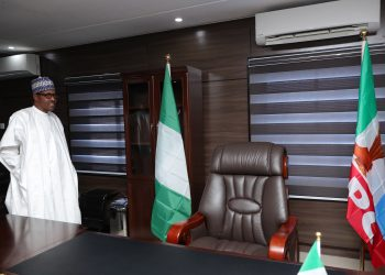 PRESIDENT BUHARI VISIT CAMPAIGN OFFICE 2. President Muhammadu Buhari during a visit to the Campaign Office in Abuja. PHOTO; SUNDAY AGHAEZE. AUG 1ST 2018