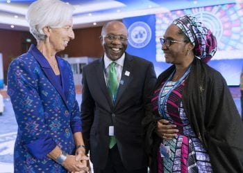 CBN GOV AND FIN MINISTER AND LAGARDE 1&1B. CBN Governor Mr Godwin Emefiele (M) flanked by the MD Managing Director Christine Lagarde and Nigerian Minister of Finance, Mrs Zainb Ahmed during the 2018 IMF/World Bank Annual Meetings Bali, Indonesia. Oct 13, 2018
