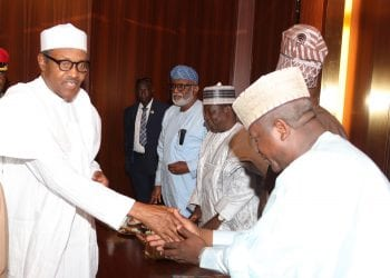 PRESIDENT BUHARI MEETS SOME APC GOVS 4. President Muhammadu Buhari in a handshake with Chairman of APC Governors' forum and Governor of Zamfara State, Alhaji Abdulaziz Yari and others meeting with some APC Governors at the State House. PHOTO; SUNDAY AGHAEZE. OCT 4 2018
