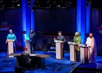 VP Osinbajo of All Progressives Congress (APC) with Khadija Abdullahi of Alliance for New Nigeria - ANN (R1); Ganiyi Galadima of Allied Congress Party of Nigeria - ACPN (R); Peter Obi of peoples Democratic Party - PDP (L1); Umar Getso of Young Progressives Party - YPP (L) during the Vice Presidential Debate.