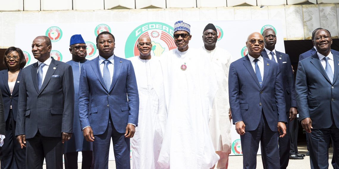 L-R; PRESIDENT BUHARI DECLARES OPEN 54TH ECOWAS COMM 3. L-R;  President of GUINEEA : H.E Alpha Condé, Special Representative and Head of the United Nations Office for West Africa and the Sahel (UNOWAS), Mohamed Ibn Chambas, President of TOGO: H.E. Faure Gnassingbé, President of NIGERIA: Muhammadu Buhari, The Gambia: H.E Adama Barrow, President of ECOWAS Commission, H.E. Jean-Claude Kassi Brou, President of COTE D IVORE: H.E. Alassane Ouattara at the fifth-fourth Ordinary Session of the ECOWAS Authority of Heads of State and Government held at the Trannscorp Abuja. PHOTO; SUNDAY AGHAEZE. DEC 22 2018