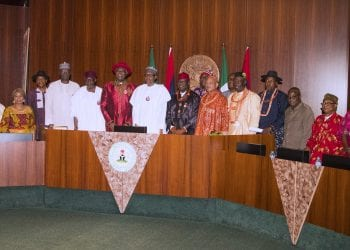 PRESIDENT BUHARI RECEIVES HOSCON (OIL PROD COMMUNITIES) 7. President Muhammadu Buhari (M) flanked by the HOSCON Chairman Board of Trustee, HRM King Alfred Diete-Spiff, HRM Ekhato Obasodie of Benin KingdomHRM King (cAPT) Frank Okurakpo Odhe11, Chief of Staff, Mallam Abba Kyari, SGF Mr. Boss Mustapha and others during a courtesy visit the host Communities of Nigeria producing Oil and Gas (HOSCON) held at the Council Chambers, State House, Abuja. PHOTO; SUNDAY AGHAEZE DEC 14 2018
