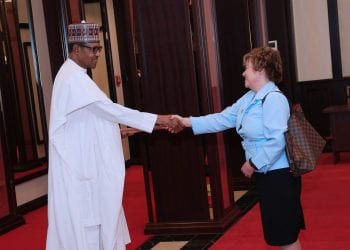 PRESIDENT BUHARI RECEIVES BRITISH HIGH COMMISSIONER 2B. President Muhammadu Buhari receives the British High Commissioner to Nigeria, H.E Catriona Wendy Campbell Laing during the presentation of his letter of credence at the State House Abuja. PHOTO. PHOTO; SUNDAY AGHAEZE. JAN 14 2019.