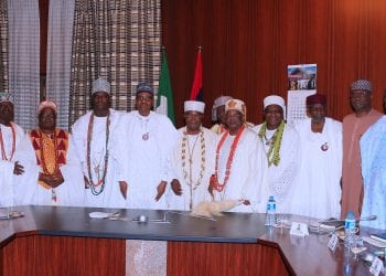 PRESIDENT BUHARI RECEIVES TRADITIONAL RULERS FROM SOUTH-WEST 8. President Muhammadu Buhari (M) flanked by the Ooni of Ife Co-Chairman National Council of Traditional Rulers of Nigeria, Oba Adeyeye Enitan Ogunwusi. Others are Alayemore of Ido Osun South West Coordinator, Alayemore of Ido Osun, Oba Aderemi Adedapo, Deji of Akure, Oba Aladetoyinbo Ogunlade, Chief of Staff, Mallam Abba Kyari, SGF Mr. Boss Mustapha, Minister of Interior, Lt Gen Abdulrahman Dambazzau, Minister of Health Prof Isaac Adewole during an audience with Traditional Rulers from SouthWest of Nigeria held at the State House, Abuja. PHOTO; SUNDAY AGHAEZE. JAN 11 2019