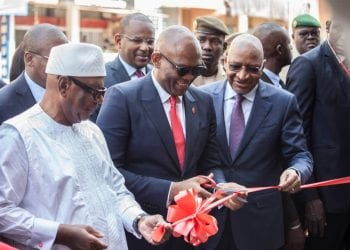 President, Republic of Mali, His Excellency, Ibrahim Boubacar Keita; Chairman, United Bank for Africa (UBA) Plc, Tony O. Elumelu; and the Prime Minister, Republic of Mali, Soumeilou Boubeye Maiga at the official launch making it the 20th subsidiary of the pan African Bank in Africa on Monday